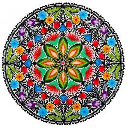 Duża okrągła wycinanka kwiatowa - sztuka ludowa