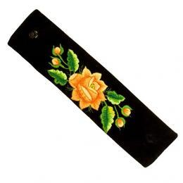 Haftowana bransoletka z pomarańczową różą