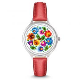 Zegarek damski - łowicki biały - pasek skórzany - czerwony