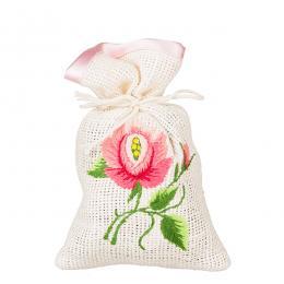 Ozdobny woreczek zapachowy z haftem ludowym - róża różowa