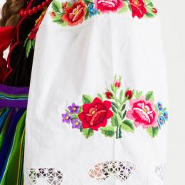 Koszula łowicka - BIELONKA - damski strój ludowy - kwiatuszki fioletowe