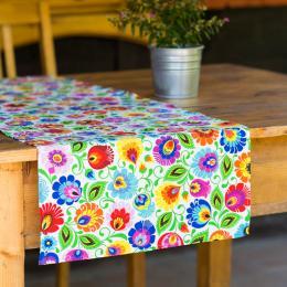 Bieżnik stołowy - 40x140cm - łowicki biały
