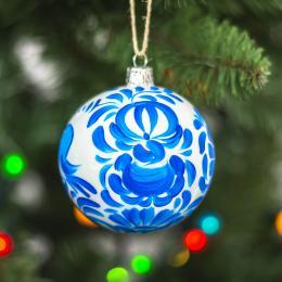 Bombka choinkowa perłowa - niebieskie kwiaty kujawskie