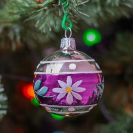 Bombka retro błysk kwiatek - fioletowa