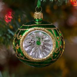Bombka retro reflektor - zielony
