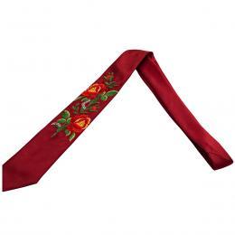 Bordowy haftowany krawat z dwiema czerwonymi różami