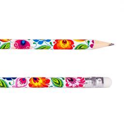 Ołówek z gumką FOLK - łowicki biały