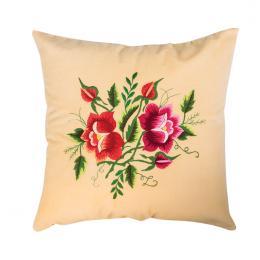 Kremowa poduszka z haftem łowickim 35x35 cm - róża czerwona i różowa