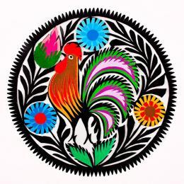 Mała wycinanka z wzorem koguta - tradycyjna sztuka ludowa