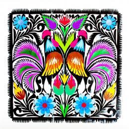 Rękodzieło ludowe - wycinanka z kolorowymi kogutkami