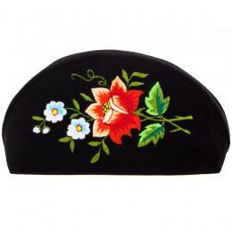 Haftowana duża folk kosmetyczka łowicka - róża czerwona z niebieskimi kwiatuszkami