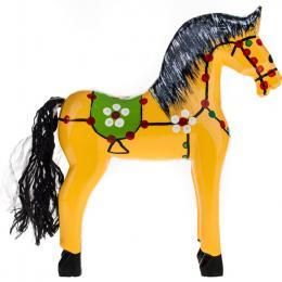 Tradycyjna zabawka ludowa - ręcznie rzeźbiony konik w ludowe wzory - duży - żółty