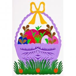 Ręcznie robiona kartka świąteczna - Wielkanoc - wycinanka z koszyczkiem fioletowym