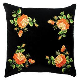 Czarna poduszka z haftem łowickim 45x45 cm - pomarańczowe róże