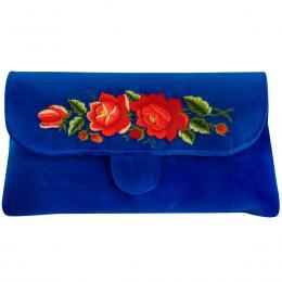 Chabrowa kopertówka z haftowanymi czerwonymi różami