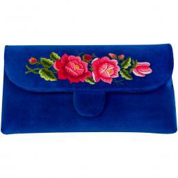 Chabrowa kopertówka z haftowanymi różowymi różami