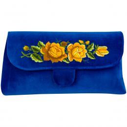 Chabrowa kopertówka z haftowanymi żółtymi różami