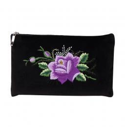 Czarna folk kosmetyczka - haft łowicki - fioletowa róża