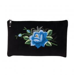 Czarna folk kosmetyczka - haft łowicki - niebieska róża