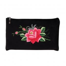 Czarna folk kosmetyczka - haft łowicki - różowa róża
