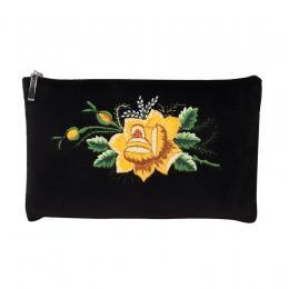 Czarna folk kosmetyczka - haft łowicki - żółta róża