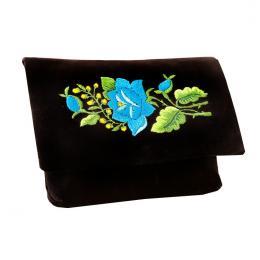 Czarna kopertówka folk - tradycyjny haft - niebieska róża
