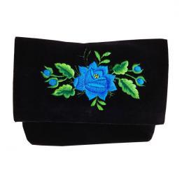 Czarna kopertówka folk - tradycyjny haft niebieskiej róży