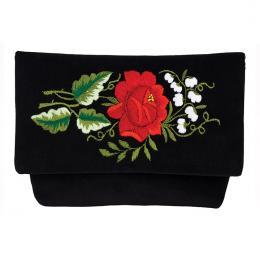 Czarna kopertówka na ludowo - haft folk - czerwona róza i białe konwalijki
