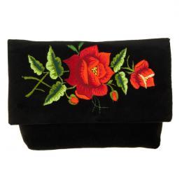 Czarna kopertówka na ludowo - tradycyjny haft łowicki - czerwone różyczki