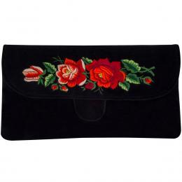 Czarna kopertówka z haftowanymi czerwonymi różami