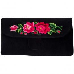 Czarna kopertówka z haftowanymi różowymi różami