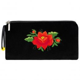 Czarne etui na okulary - haft łowicki - czerwona róża