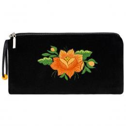 Czarne etui na okulary - haft łowicki - pomarańczowa róża