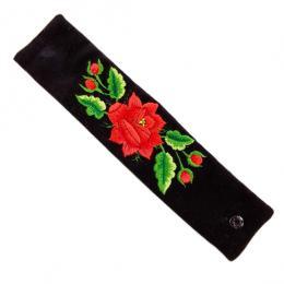 Haftowana bransoletka z czerwoną różą