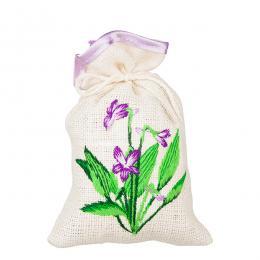 Ozdobny woreczek zapachowy z haftem ludowym - dzwonki