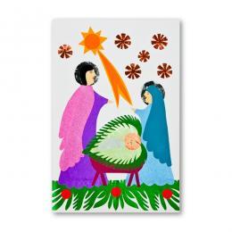 Ręcznie robiona kartka świąteczna - Boże Narodzenie - wycinanka ŚWIĘTA RODZINA