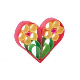 Kolorowa drewniana ozdoba choinkowa - serduszko z kwiatkami