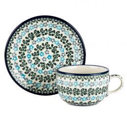 Filiżanka do herbaty - ceramika Bolesławiec- kwiecista rozeta