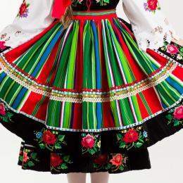 Strój łowicki - ZAPASKA - fartuch ludowy - pasy zielono - czerwone