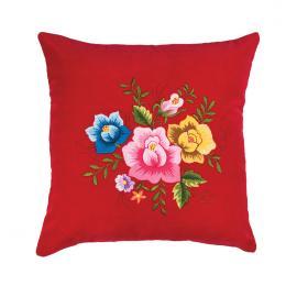Czerwona poduszka z haftem łowickim 35x35 cm - róże kolorowe