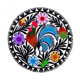 Mała okrągła wycinanka z kogutem - sztuka ludowa