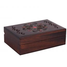 Drewniana kasetka góralska - brązowa 13cm