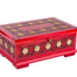 Drewniana kasetka góralska - czerwona