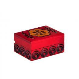 Drewniana kasetka góralska - czerwona 8cm