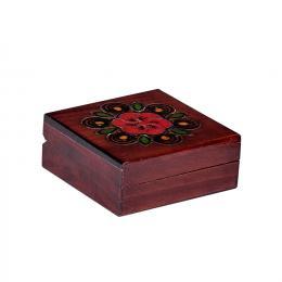 Drewniana kasetka góralska kwadratowa - brązowa 10cm
