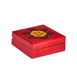 Drewniana kasetka góralska kwadratowa - czerwona 10cm