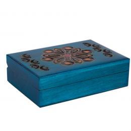 Drewniana kasetka góralska - niebieska 13cm
