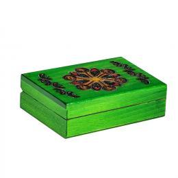 Drewniana kasetka góralska - zielona 13cm
