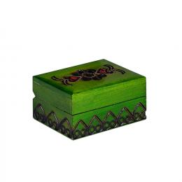 Drewniana kasetka góralska - zielona 8cm