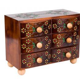 Drewniana komoda góralska z sześcioma szufladkami - brązowa